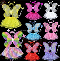 Hot sale Butterfly Angle fairy wings tutu set wholesale Halloween kids Costume for sale