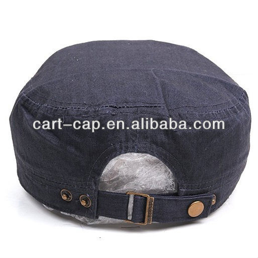 black color washed cotton,with metal closure,wholesale military style hats