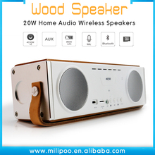 Ultra Portable Wood 20W Wireless TF Speaker Bluetooth 4.1 Speaker with 3D hifi stereo subwoofer, build-in mic/3.5 Audio port