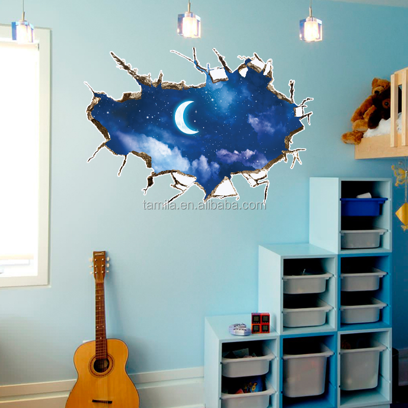 Creative Home Decor Hot 3D Wall Sticker Moon And Stars Decal Art Decor Vinyl Removable Mural Poster Scene Window Wall Sticker