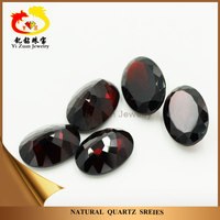 High Quality Natural Dark Garnet Crystal Quartz Diamond Facets cut Oval Loose Mineral Gemstones