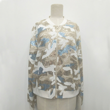 Factory manufacturing custom camo pattern ladies evening sequin jackets