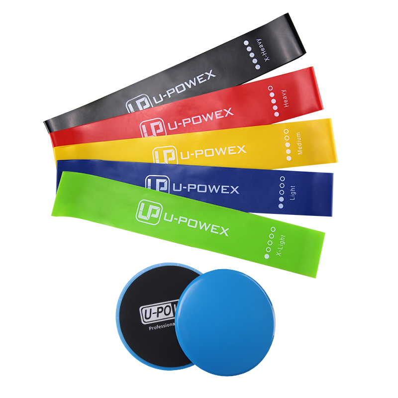 2018 popular logo printed exercise resistance loop bands with core sliders