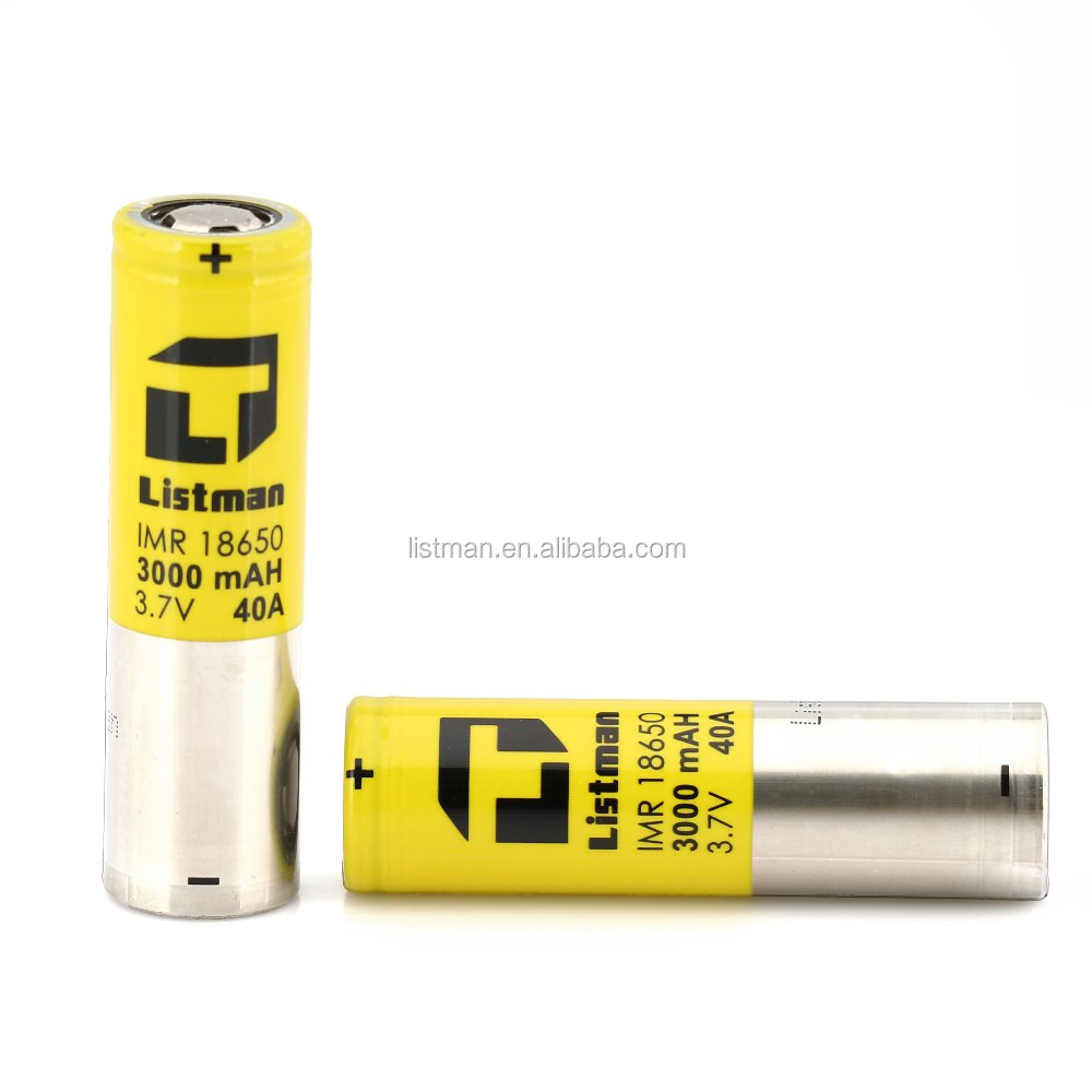 Listman18650 3000mah 40a Li-Mn battery,Listman 18650 40a battery,Listman 40amp 18650 for flashlight E-cigs & Vaping Mods