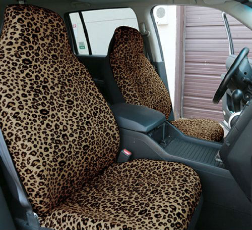 Leopard Car Seat Covers, Airbag compatible and Split Bench, Brown