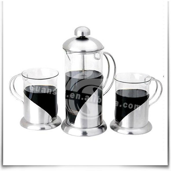 4-Size Stainless Steel & Glass French Press with Coffee Mugs
