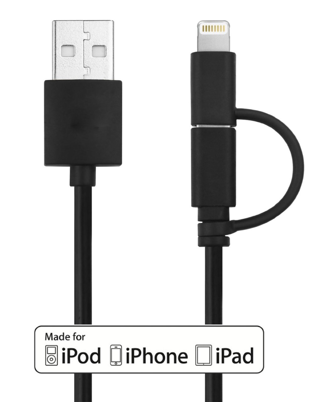Alibaba wholesale hot selling Mfi certified 2in1 usb cable for apple iphone