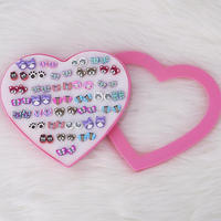 New arrival wholesaler korea fashion cute girl Earrings colorful pink heart box packed