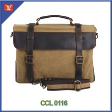 2016 Retro Leisure Business Canvas Genuine Leather Laptop Messenger Handbag/Briefcase