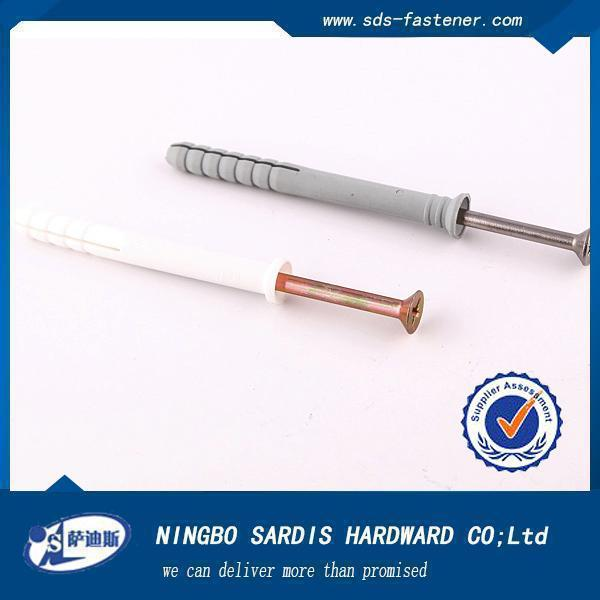 High Quality NYLON HAMMER FIXING DRIVE PLUG WITH SCREW/NYLON ANCHOR WITH NAIL SCREW,nylon anchor