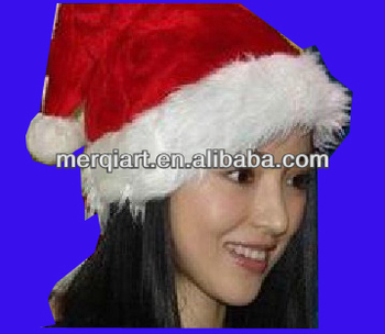 X3041a high quality red santa hat christmas hat made of red plush and white plush
