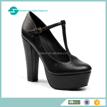 latest design leather shoes thick heel closed toe platform women shoes