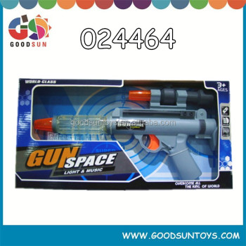 2016 Top new cheap promtional toy B/O children space gun pray gun with light and music for export