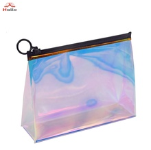 Laser Iridescent Holographic Clear Shiny Cosmetic Bag Rainbow Laser Transparent PVC Makeup Organizer Travel Bag Vanity Pouch