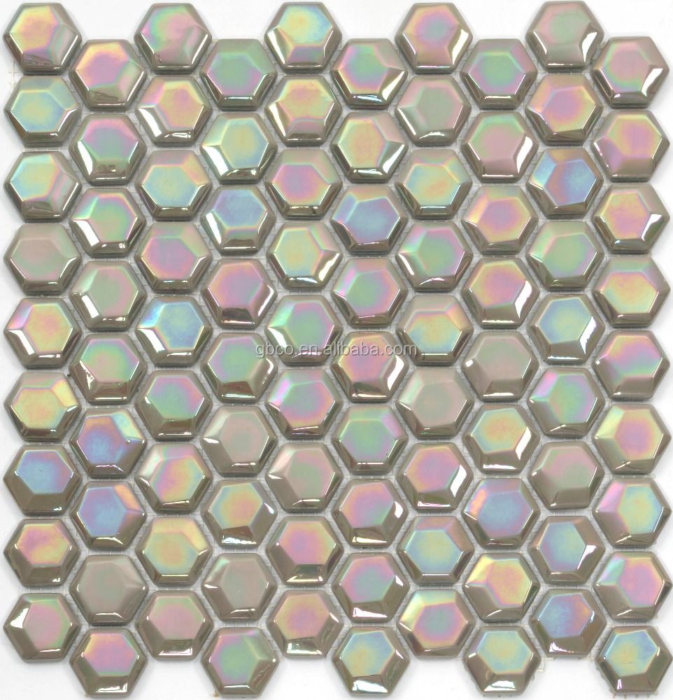 Glossy IRIDIUM glass tile sheets waterproof and fullbody recycled china glass mosaic
