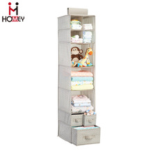 Baby Nursery Closet Organizer / Hanging / Hanging, 7 Shelves and 3 Drawers