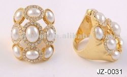 factory price peal gold ring with pearl