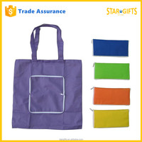 Wholesale Reusable Waterproof Heavy Duty Folding Nylon Shopping Bag With Pouch