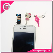 Fancy mobile phone accessories plastic earphone dust plug cartoon phone dust plug