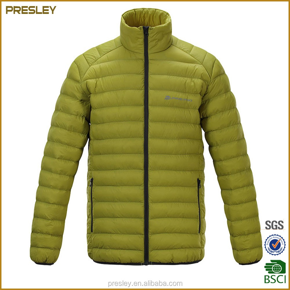 Light foldable outdoor man jacket winter wear 100% polyester down padded jacket