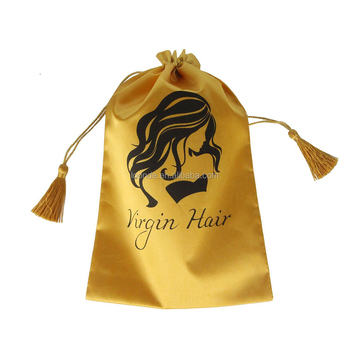 Wholesale creative design gold satin virgin hair packaging bag with tassel