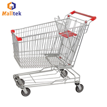 150L Asian Steel Supermarket Transport Push Shopping Trolley