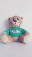 plush dressed T-shirt bear with electricity embroidered eyes