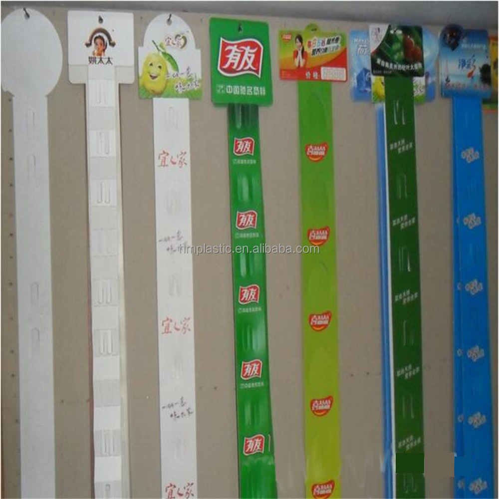 Store Goods Hanging Plastic Display Clip Strip Support For Printing