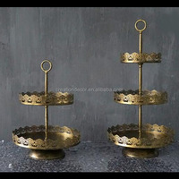 Antique iron 3-tier wedding cup cake display stand