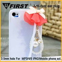 Mini anti dust plug flower ear cover cap for iphone
