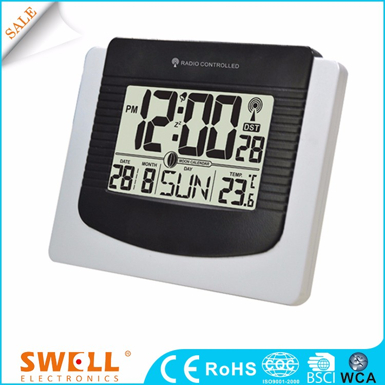 digital radio control wall clock with lcd screen , buy digital wall clock with week display in 7 languages for option