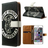 PU Leather Flip Book print image style mobile phone case with Wallet card slot for iPhone 6Plus 6 5S 5 4S 4 Samsung Note 4 Note