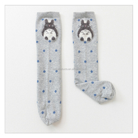 Grey Color Cotton Totoro Baby Girl Hose Knee High Long Socks