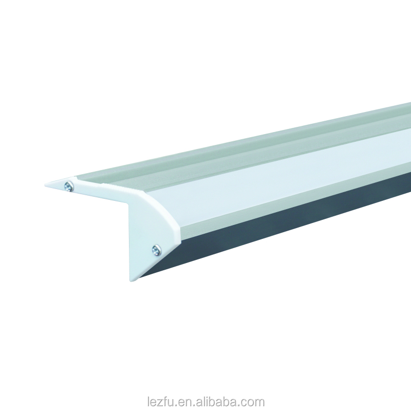 Aluminum stair nosing led edge lit profiles with PC cover led stair profile