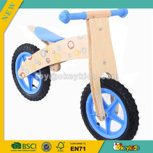 wholesale educational wooden bike toy,beautiful toddler wooden balance bike toy,blue children wooden bike toy W16C018