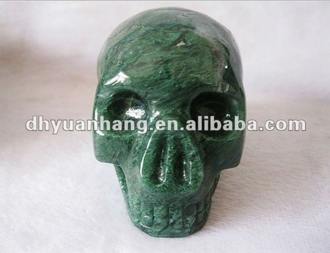 Natural green agate crystal skulls, crystal sculpture crystal craft skulls, green tass agate stone skull