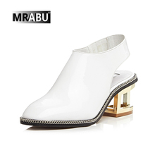 black white genuine leather citi trends chunky heel hollow heels women shoes