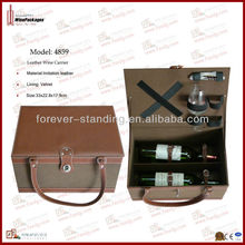 Two bottles leather wine carrier,wine case with wine tools