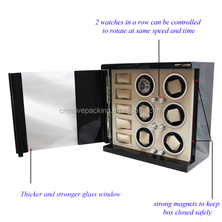 6+5 Luxury Piano Lacquer Wooden Automatic Watch Winder