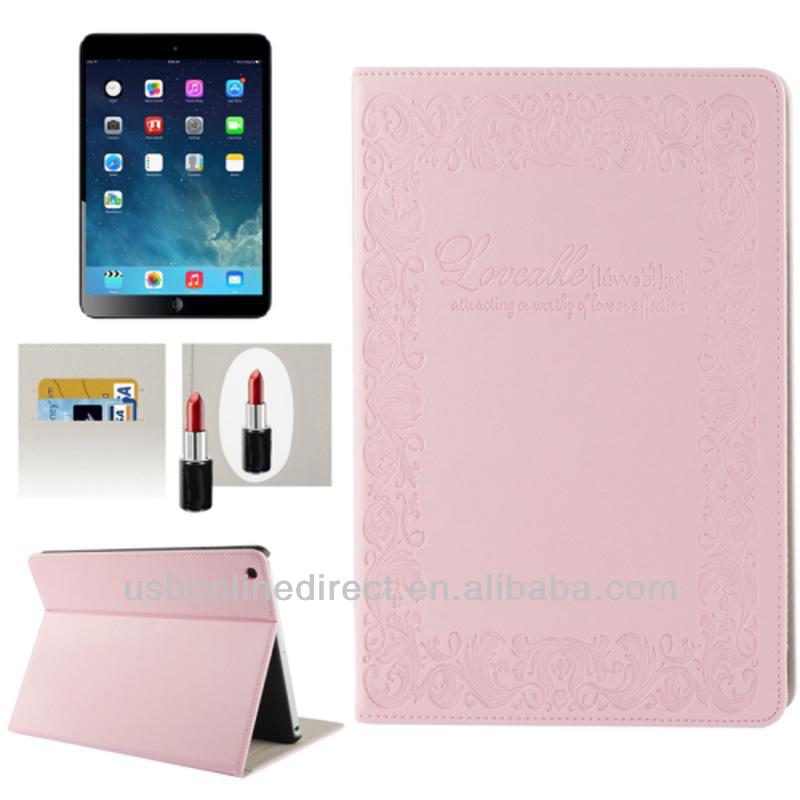 Flip stand cover case for ipad air with Credit Card Slots & Mirror, for ipad5 air leather case with sleep &wake up function