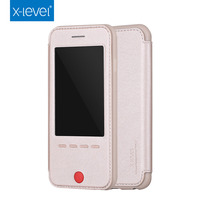 New design funny mobile phone case with answer function flip leather case for iphone