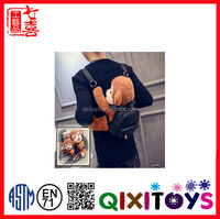 2016 fashional design recreation bag PU bag with monkey shaped plush for travelling toy bag