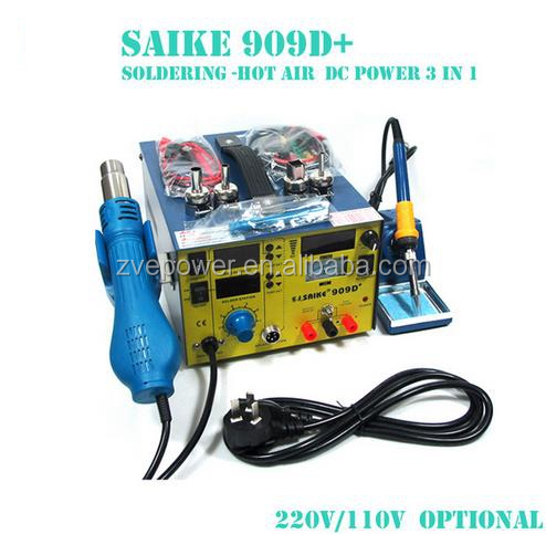 saike 909D 3 IN 1 hot dryer rework station smd soldering iron power supply 0-3A 220V or 110V 700W desoldering tools