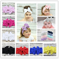 Z54402B Hot sales baby girl big bow cotton headband Knot infant toddler tube elastic headband girls knitting headbands