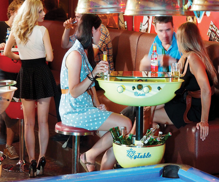 Patent Icy table Portable Bar Table with Drink Cooler