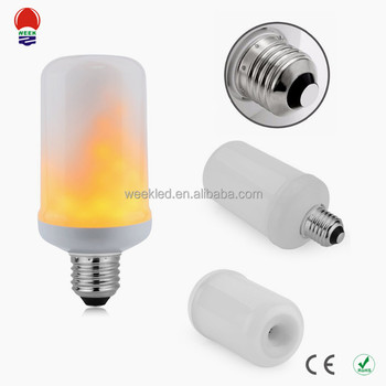 LED Light Source and 1800-2000K warm yellow Color E27 flicker led flame bulb