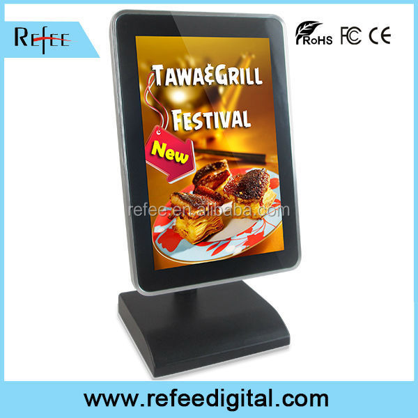 advertising player card reader with vga outpu tabletop retail advertising, restaurant menu board