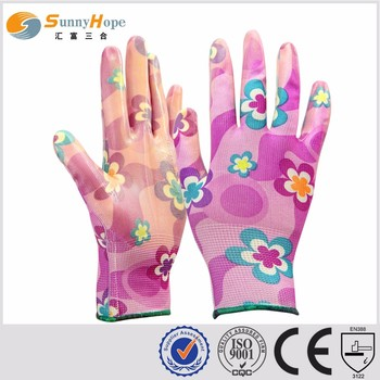 SunnyHope China Factory nitrile coated women's garden gloves
