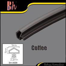 Extruded PVC Weather Dust Proof Rubber Strip Sliding Door Frame Groove Gasket Repair Soundproof Seals R 9x5x3.8mm Color Coffee
