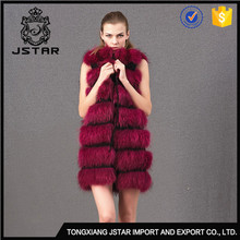 New fashion design popular in Europe long style girls natural raccoon fur vest